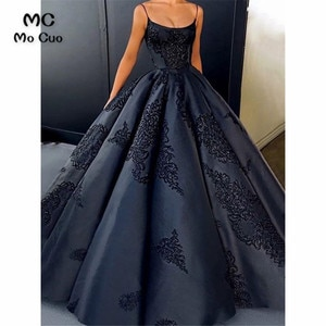 Dark Blue Ball Gown Evening Prom Dresses for Women's Spaghetti Straps Scoop Lace Up Back Formal Evening Party Gown