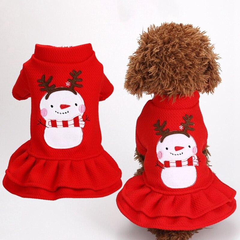 Dog Christmas Clothes Pet Dog Girl Snowman Printed Princess Dress Small Dog Winter Warm Dress For Chihuahua Yorkie Apparel