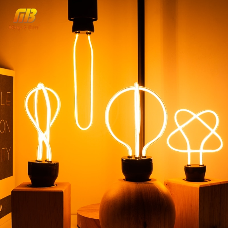 Bombilla LED Edison Retro E27 220V lámpara de filamento suave bombilla incandescente decoración Industrial para Bar Café