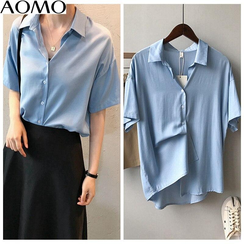 AOMO fahsion  women summer shirts short sleeve solid elegant office ladies work wear blouses high quality ASF10A