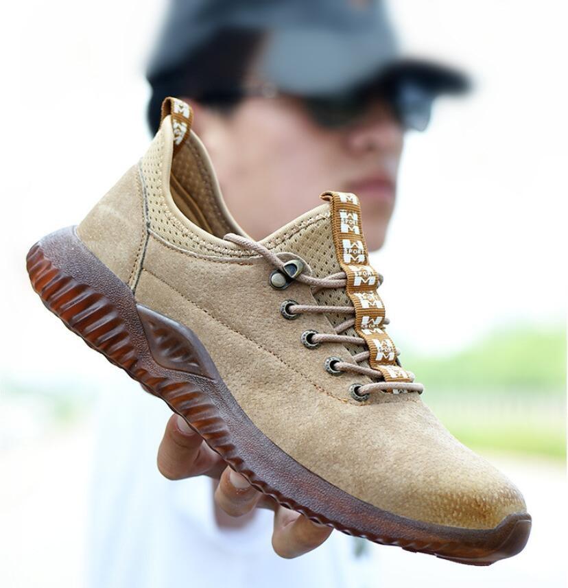 CS703 Dropshipping zapatos Indestructible hombres acero puntera gorra zapatos de seguridad cuero genuino Anti-golpes botas de trabajo anti-piercing