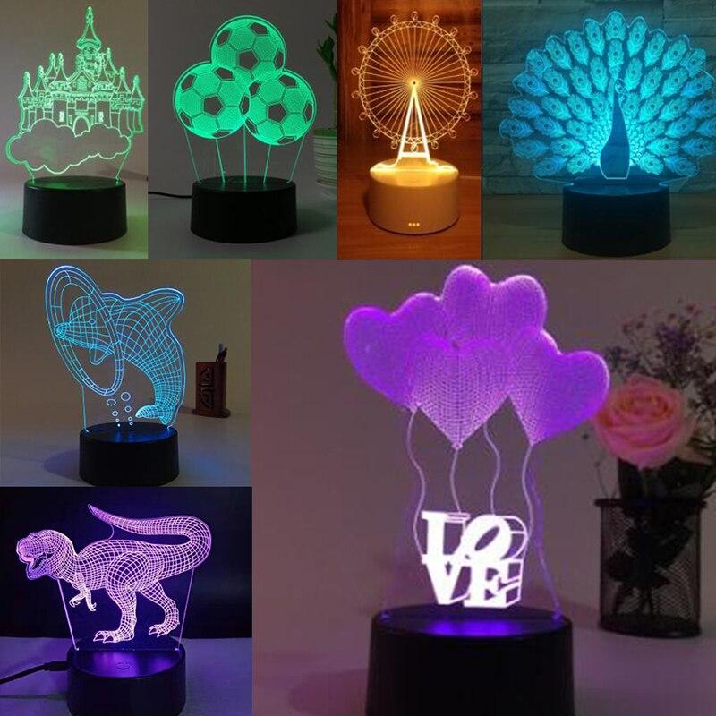 1 Pza 3D ilusión lámpara RGB LED luz nocturna Panel acrílico para niños dibujos animados regalos