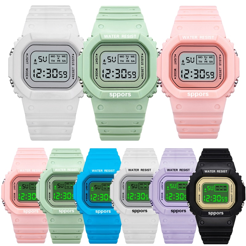 2021 Women's Simple Digital Luminous Electronic Watch Unisex Kids Square Watch Sports Student Waterp