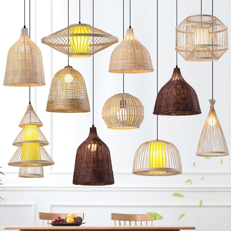 lustre sudeste da asia tecido de bambu iluminacao criativa para casa restaurante