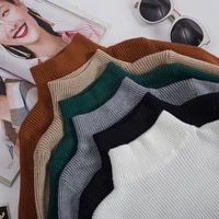 knitted sweater women 2021 half turtleneck autumn winter woman sweaters korean long sleeve pullover ladies jumper soft tight