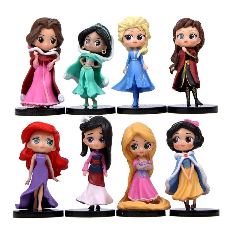 9.4cm Q Posket księżniczka rysunek zabawki Mulan alicja księżniczka kolekcja modelowych figurek akcji zabawki z PVC ozdoba na wierzch tortu narzędzie do dekoracji ciast