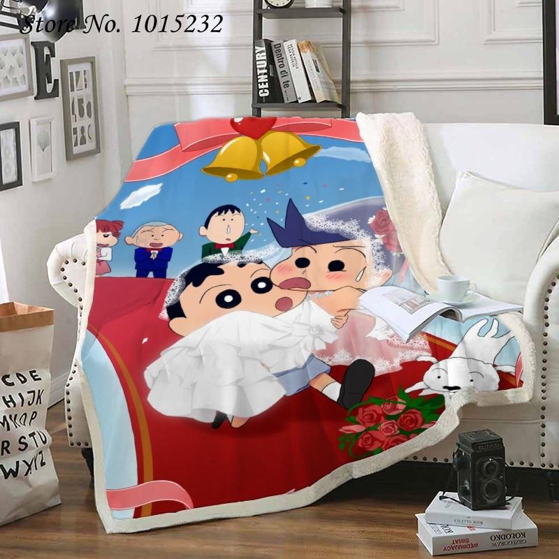 Anime crayon shin-chan 3d impresso velo cobertor para camas colcha grossa moda colcha sherpa lance cobertor adultos crianças 03