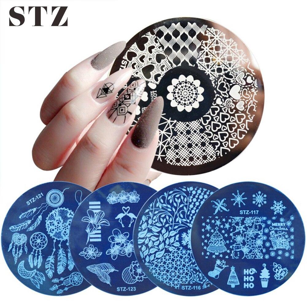 STZ шаблон для стемпинга для нейл-арта Dreamcather Фламинго Цветочные кружевные штамп с изображением фрукта пластины для ногтей Форма для трафарета инструменты для маникюра STZ101-130