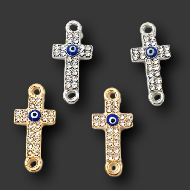 8 stücke Handgemachte Strass Kreuz Blue Eye Anschlüsse Anhänger DIY Charme Für Schmuck Handwerk Frau Armband, Der 25*11mm P388