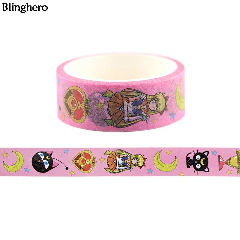 20 unids/lote Blinghero Sailor Moon 15mmX5m cinta adhesiva bonita Washi gato cinta adhesiva cintas adhesivas dibujos animados Scrapbooking cintas BH0142