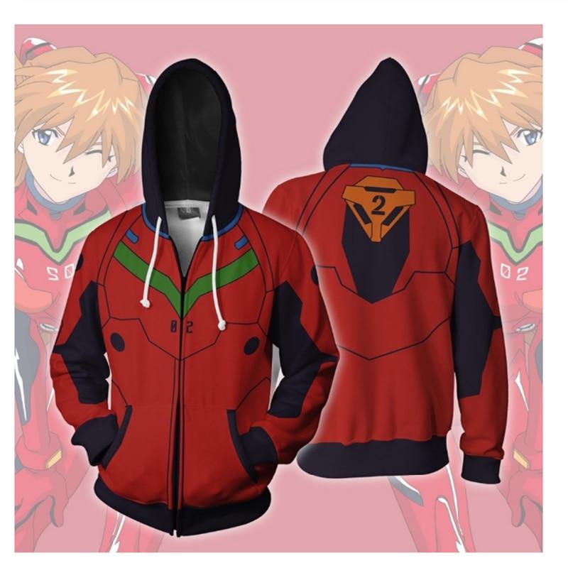 3D Print Japanese Anime Evangelion Asuka Langley Ayanami Rei Hoodie Sweatshirts Cosplay Costume Women Men Casual Zipper Jackets