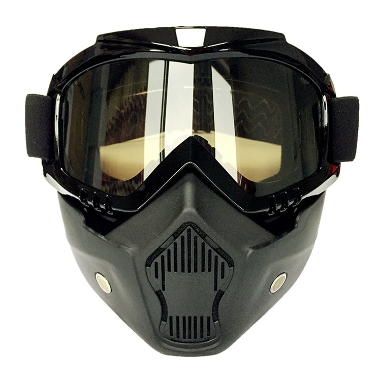 Retro mask Goggles Motorcycle Helmet goggles with mask riding cross-country goggles sliding detachable mask four seasons enlarge