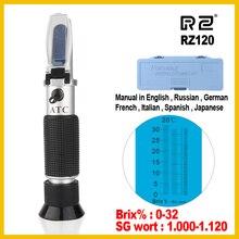 RZ refraktometr piwo Brix Wort cukier alkohol 0 ~ 30% 1.000 ~ 1.120 SG ciężar właściwy ręczne narzędzie hydrometr RZ120 narzędzie