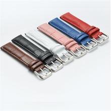 14 15 16 17 18 19 20mm femmes hommes poignet bracelets de montre bracelet de montre en cuir véritable bracelet de montre avec épingle outils bleu/rose/rouge/blanc nouveau