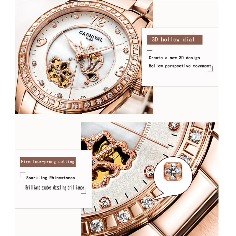 CARNIVAL New Fashion Leisure Automatic Mechanical Women's Watches Hollow Butterfly Flower Waterproof Stainless Steel Strap enlarge