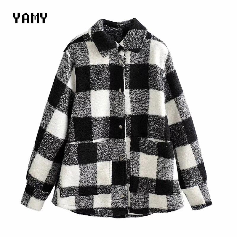 Nueva chaqueta a cuadros retro para mujer abrigo de manga larga vintage chaqueta suelta prendas de vestir abrigo de invierno casual para mujer 2020