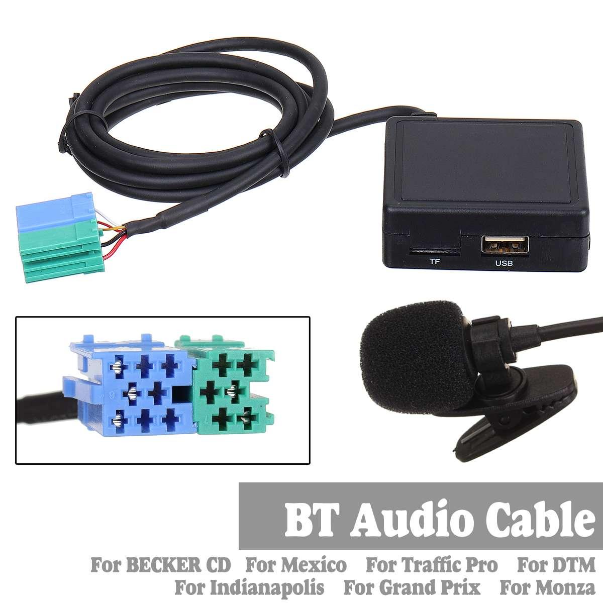Cabo adaptador de recebedor bluetooth e microfone, adaptador de rádio estéreo para becker para méxico para tráfego pro
