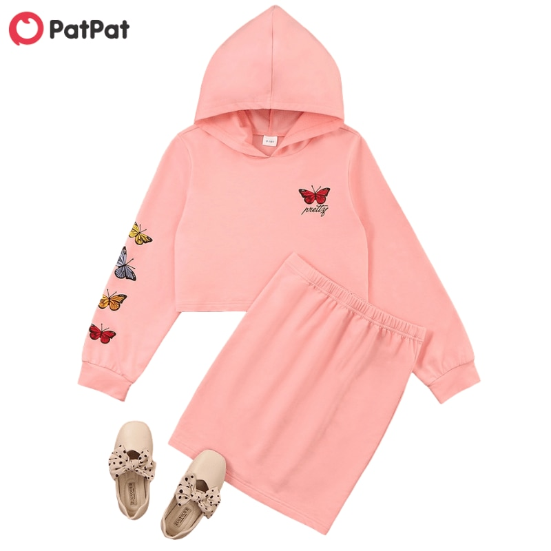 PatPat 2020 New Spring and Autumn Kid Girl Butterfly Skirt Suit