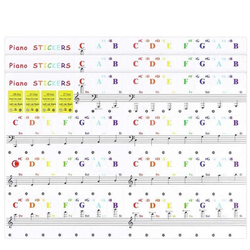 Adesivos de teclado de piano de 3 pacotes quentes para iniciantes para 88/61/49/37 teclados-removíveis e transparentes