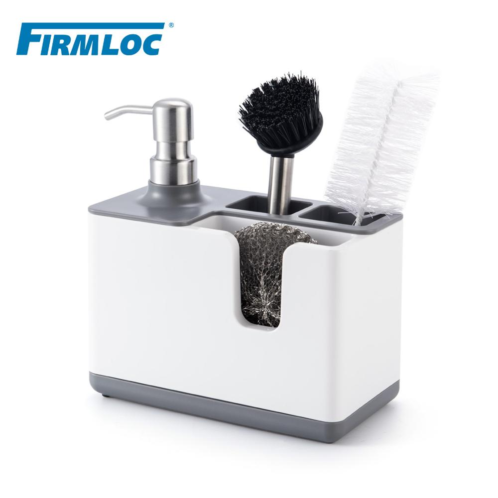 Dispensador de jabón líquido de mano de plástico Firmloc, bomba, accesorios de baño, contenedor de almacenamiento, organizador, rejilla para escurrir para fregadero
