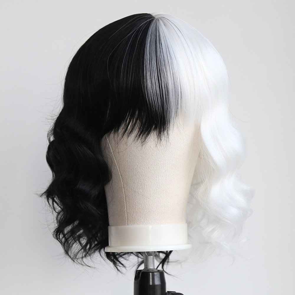 BTWTRY Half White Half Black Synthetic None Lace Wigs with Bangs for Women Cosplay Daily Wear Hair Short Curly Hair Cute Wigs