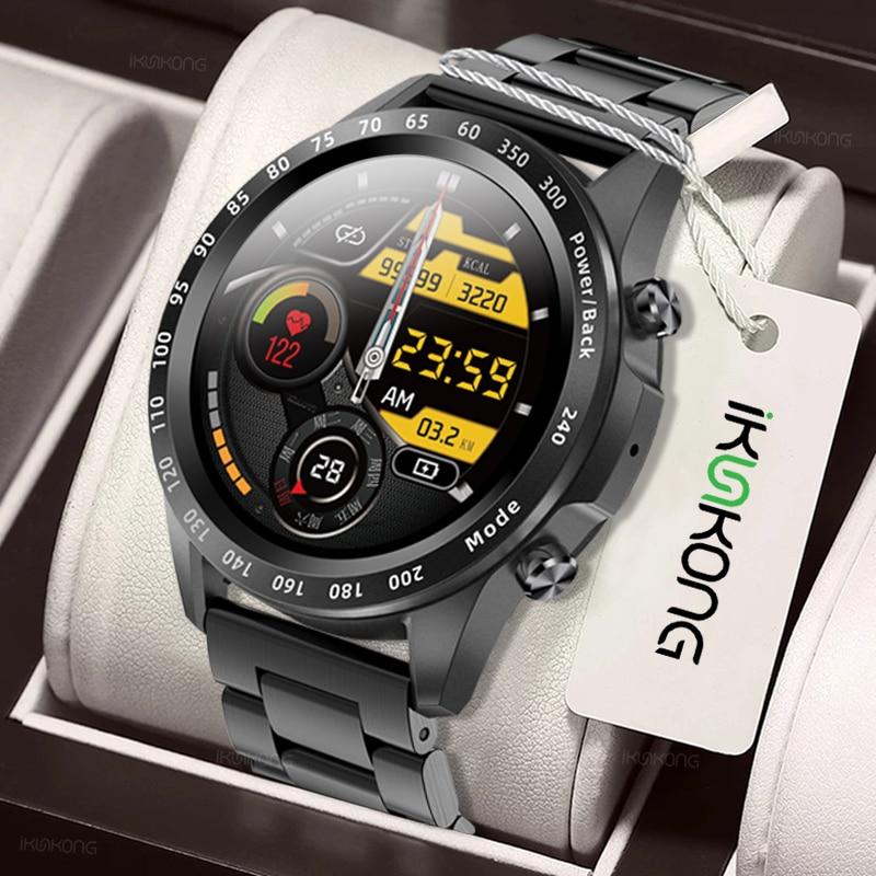 2021 Men Smart Watch TWS Heart Rate Blood Pressure Body Temperature Sports Fitness Luxury Watch Bluetooth Call Smartwatch  Music