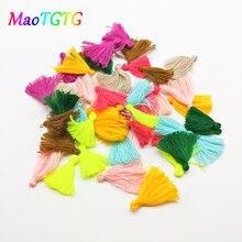 50 unids/lote Mini borla colorida para hacer joyería, collar, pendiente, colgante hecho a mano, accesorios DIY, borla de algodón al por mayor