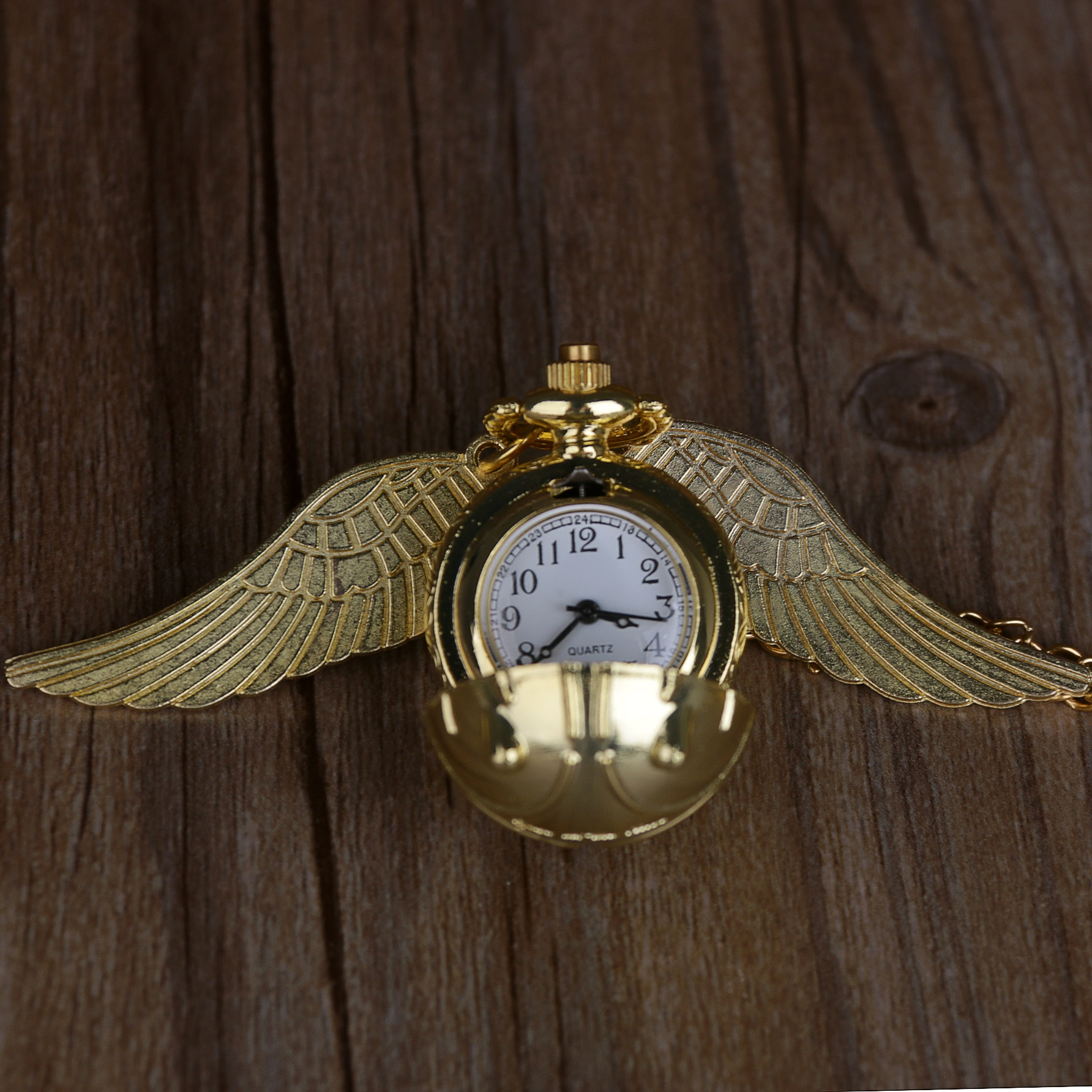 20pcs Golden Snitch Ball Shaped Quartz Pocket Watch Fashion Sweater Angel Wings Necklace Pendant Gifts for Men Women kids enlarge