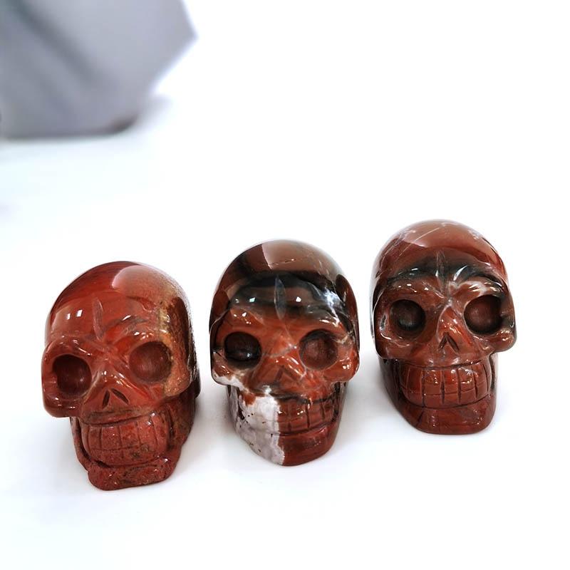 Venta al por mayor, piedra de cuarzo natural de alta calidad, cristal rojo, jaspe, forma de cráneo, piedra, sanación, Reiki, para regalo, decoración del hogar, XSY