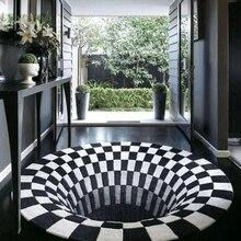 Vortex ilusão tapete 3d armadilha efeito buraco sem fundo tapete redondo preto branco grade quarto antiderrapante tapetes moda