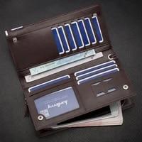 mens fashion leather wallet bifold id card holder purse checkbook long clutch bags handbags