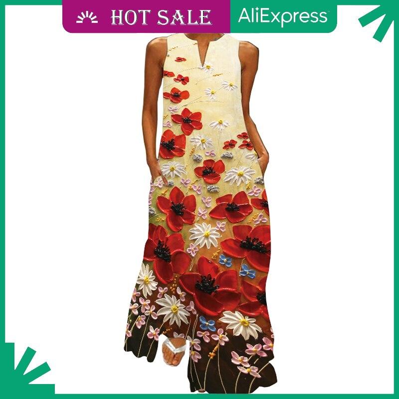 MOVOKAKA Sleeveles Long Dress Robe Vintage V Neck Dresses Summer Beach Casual Plus Size Fashion Dres
