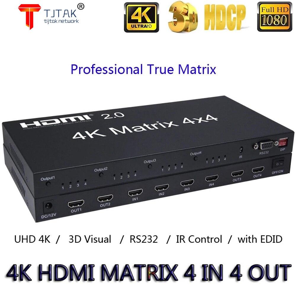 Tjtak-convertidor y comutador edid rs232, 4x4, HDMI 2,0, matriz 4K, 60Hz, 1080p, 4 entradas, Saida Para PS4, Xbox, PC, HDTV