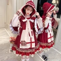 t z 2021 girl dress princess dress little red riding hood lolita dress for girls bow birthday party ball gown doll teen dress