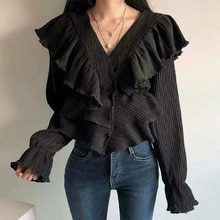 Blouse 2021 South Korea V-neck Wrinkle Texture Ruffled Stitching Trumpet Sleeve Top Women's Solid Co
