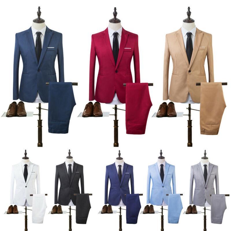 Costume Homme Mens Blazer Suit Ensembles Slim Tuxedo Coat Pants Formal Evening Dinner Wedding Groom