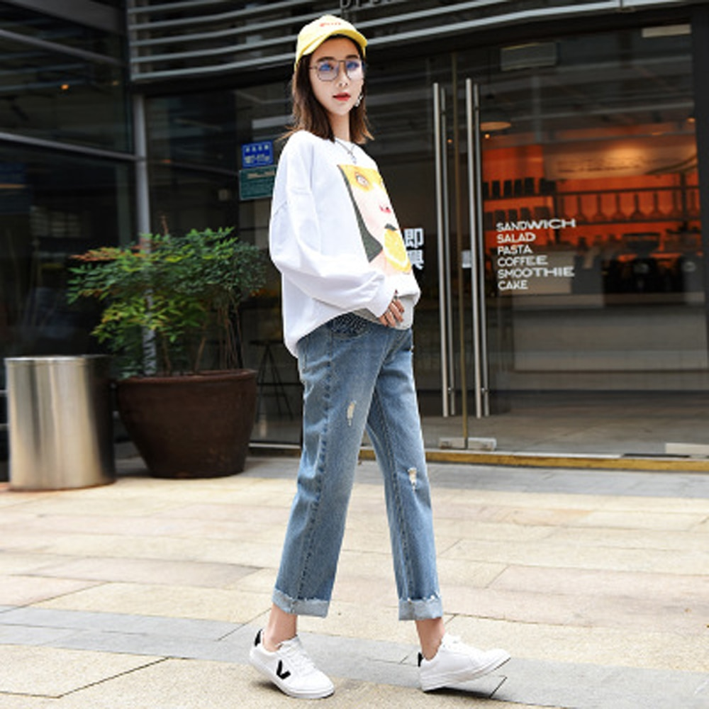 Vintgae Washed Denim Maternity Jeans Elastic Waist Belly Loose Pants Clothes for Pregnant Women 9/10 Length wide leg Pregnanc enlarge