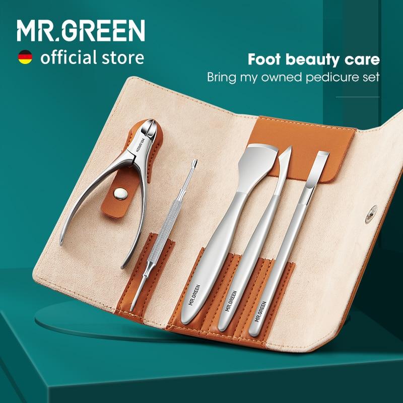 MR.GREEN باديكير طقم السكاكين المهنية نام أظافر أدوات العناية بالقدم الفولاذ المقاوم للصدأ مقرضة تجميل الأظافر المقص مجموعة الإزالة