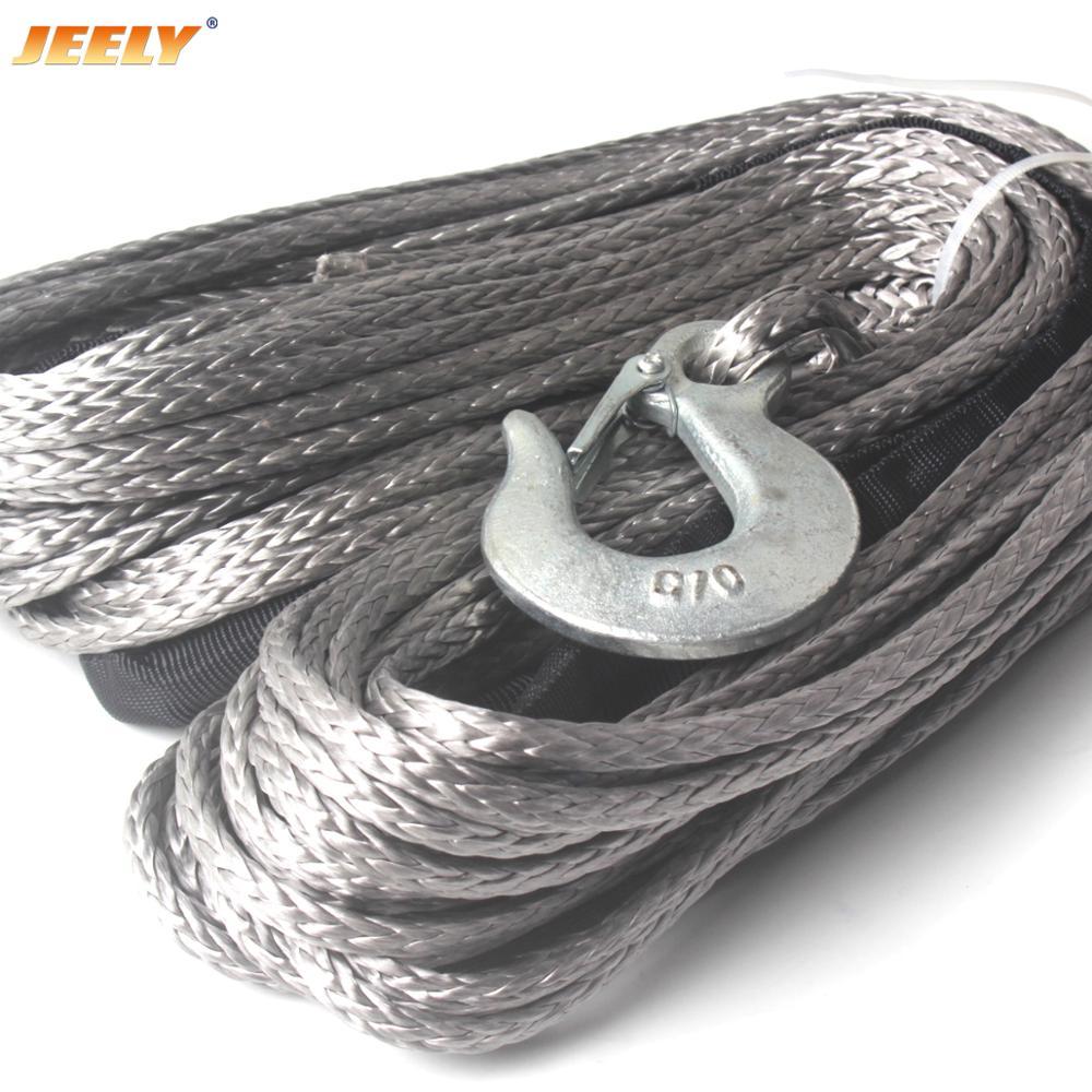 6mm * 24m 12 hebra off-road uhmwpe cuerda de remolque sintético con gancho 1,5 m manga y dedal