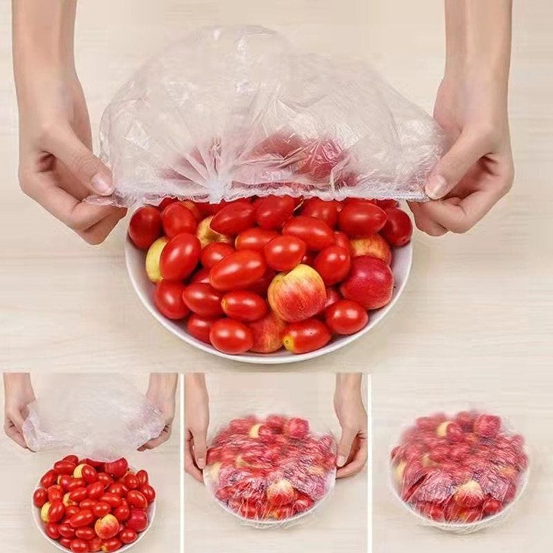 100 шт. одноразовые пищевые крышки, пластиковая упаковка, эластичные пищевые крышки для фруктовых мисок, чашек, колпачки для хранения, кухонн...
