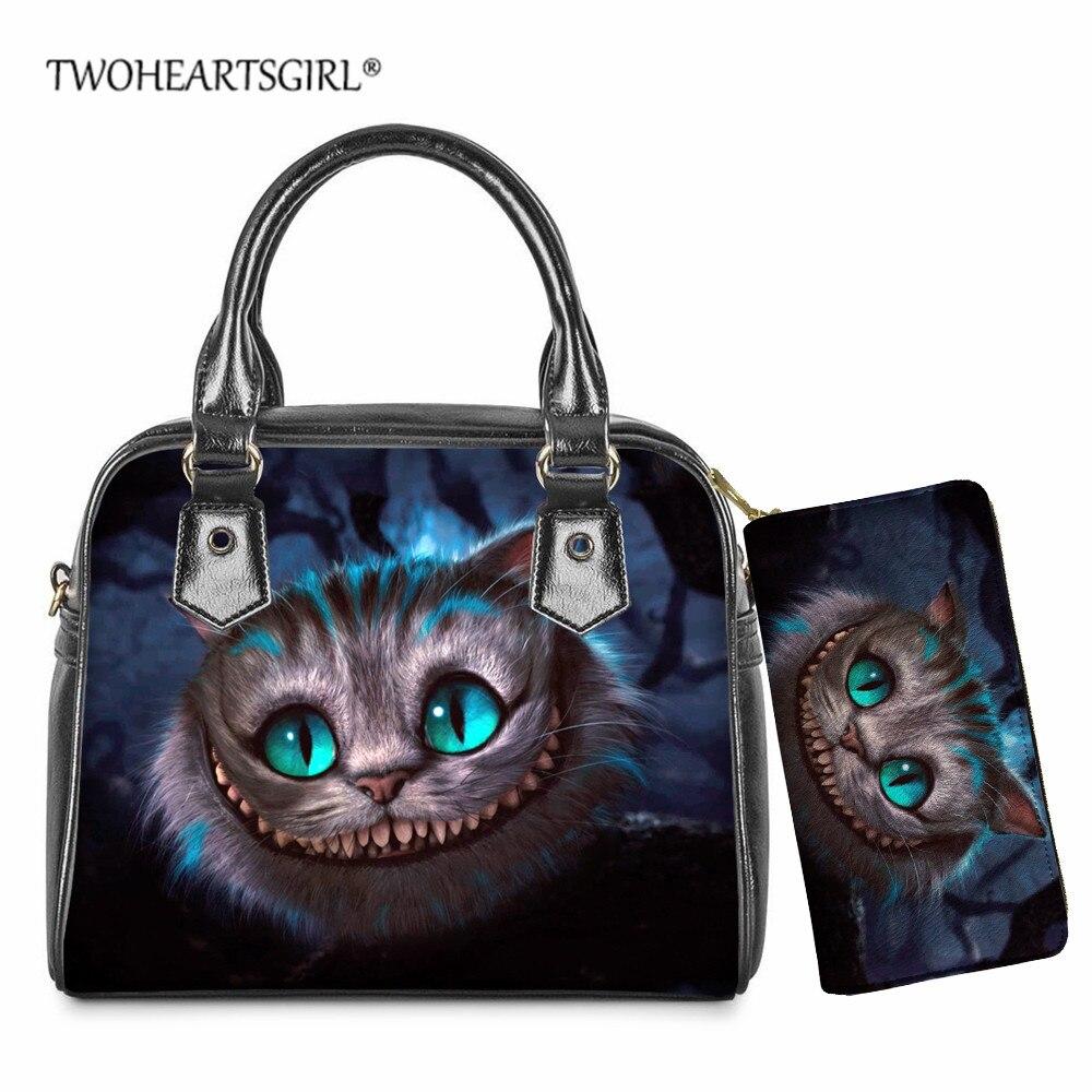 Bolsa de Ombro de Couro Impressão Cheshire Gato Mulher Estamos Todos Loucos Aqui Carteira Senhoras Casual Topo-alça Bolsa Crossbody Conjunto