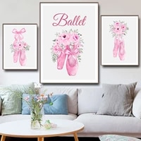 fashion watercolor pink ballet shoes vogue wall art canvas painting nordic posters prints wall pictures for living room decor
