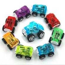 6 Mini Cartoon Transparent Inertia Small Car Model Children's Toys Off-Road Car Model Baby Stroller