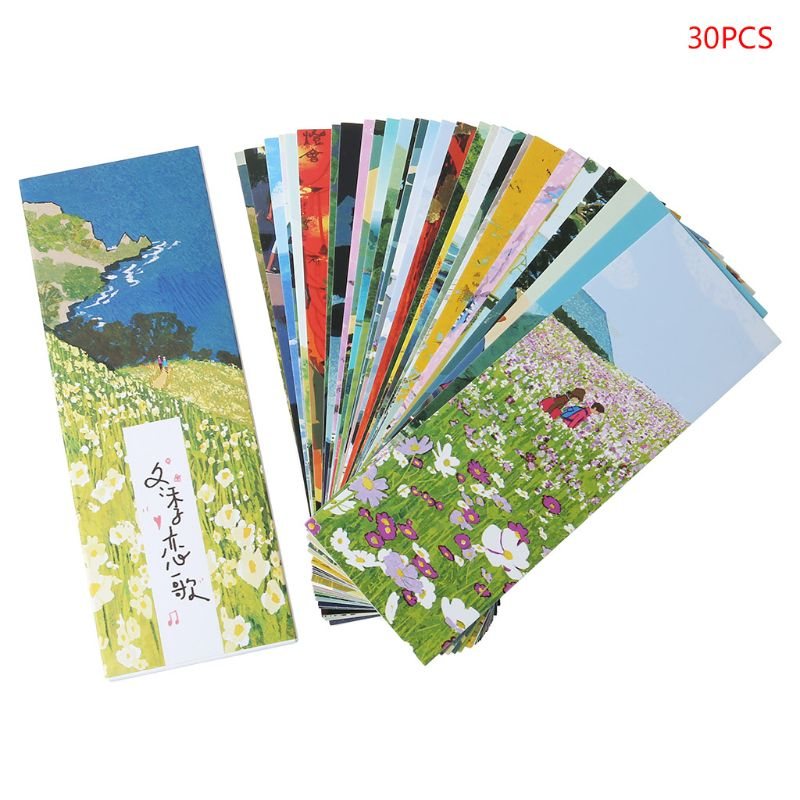 YYDS 30pcs Girl Bookmarks Paper Page Notes Label Message Card Book Marker School Supplies Stationery