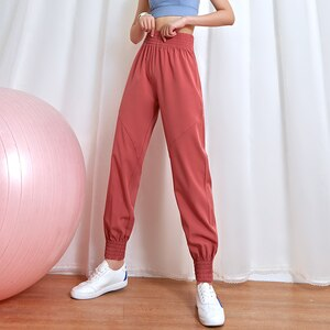 Lusure quick-drying sports pants female running loose closing beam yoga clothes gym high waist breathable casual pants
