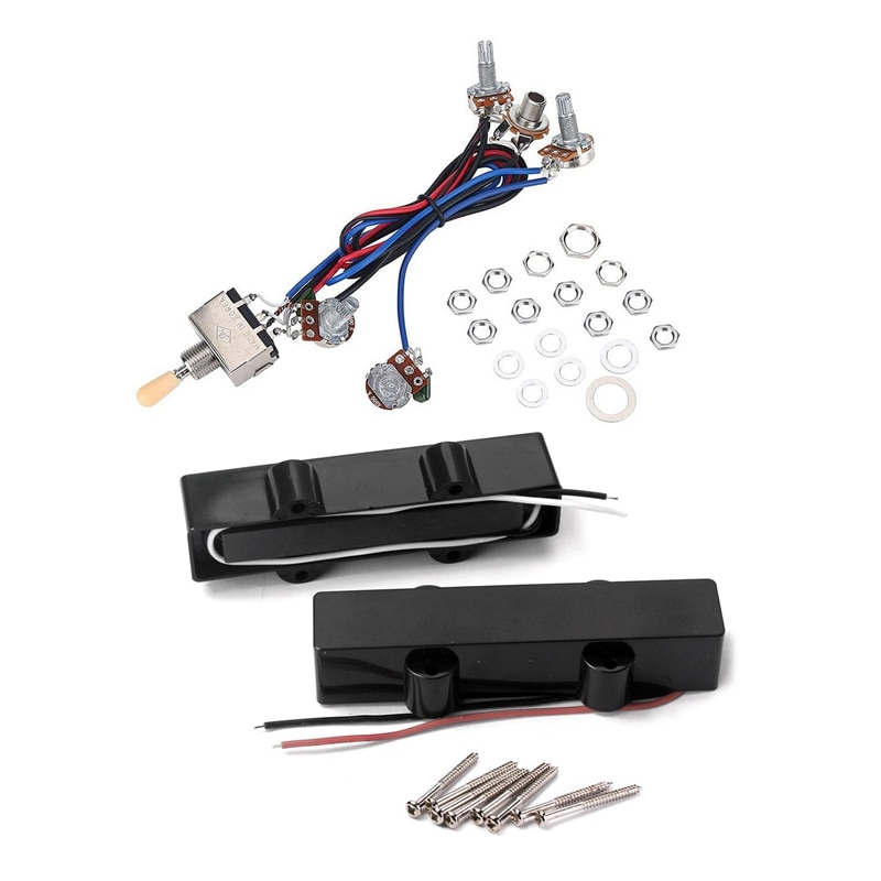 1x Electric Guitar Wiring Harness Kit, 2T2V 3 Way Toggle Switch & 1Set Jb Bass Guitar Pickups Open Style Pickups