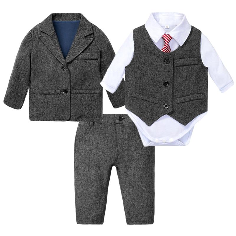 Formal Baby Boys Clothes Little Gentleman Long-sleeve Romper with Striped Tie + Jacket + Vest + Pants 4 Pieces Kids Suit Wedding