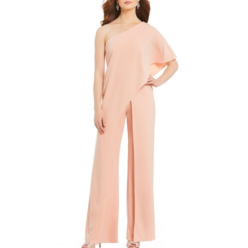 Women Fashion One Shoulder Slash Neck High Waist Casual Lady Wide Leg Asymmetric Split Jump suits Pants
