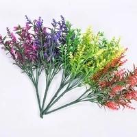 2 bundles fake lavender plastic plants artificial flowers home greenery for indoor outdoor garden yard wedding decoration