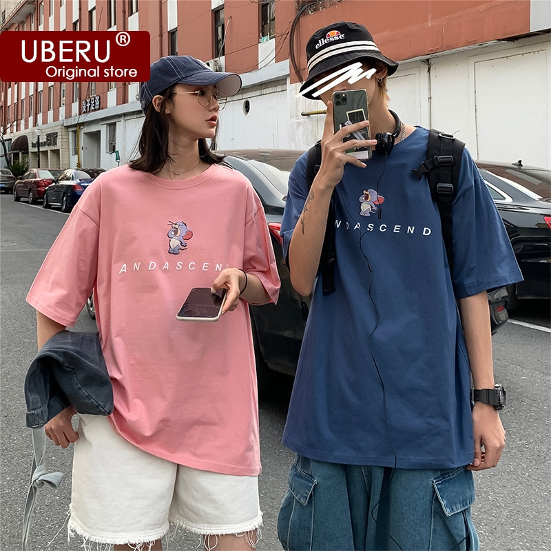 UBERU Summer T-shirt Cartoon Solid Color Ladies Basic T-shirt Couple Loose Oversized Short Sleeve Cl